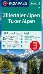 Zillertaler Alpen, Tuxer Alpen (WK 37), hiking map - Kompass