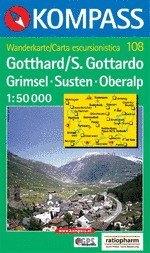 Gotthard turistatérkép (WK 108) - Kompass