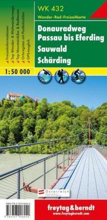 Duna menti kerékpárút, Passau, Eferding, Sauwald, Schärding turistatérkép (WK 432) - Freytag-Berndt