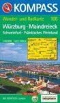 Würzburg, Majna-háromszög turistatérkép (WK 166) - Kompass