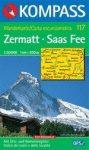 Zermatt, Saas Fee turistatérkép (WK 117) - Kompass