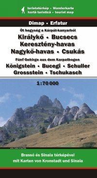 Királykő, Bucsecs, Keresztény-havas, Nagykő-havas, Csukás turistatérkép - Dimap & Erfatur