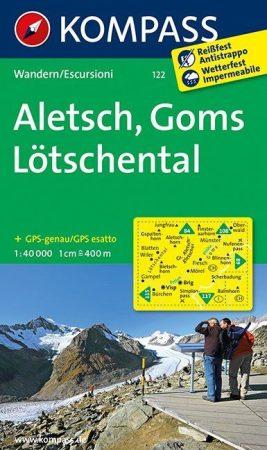 Aletsch, Goms, Lötschental turistatérkép (WK 122) - Kompass