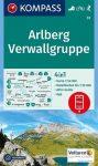 Arlberg, Verwallgruppe turistatérkép (WK 33) - Kompass