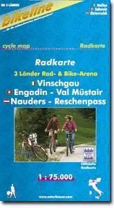 Vinschgau, Engadin - Val Müstair, Nauders - Reschenpass kerékpártérkép - (EVN)