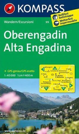 Oberengadin turistatérkép (WK 99) - Kompass
