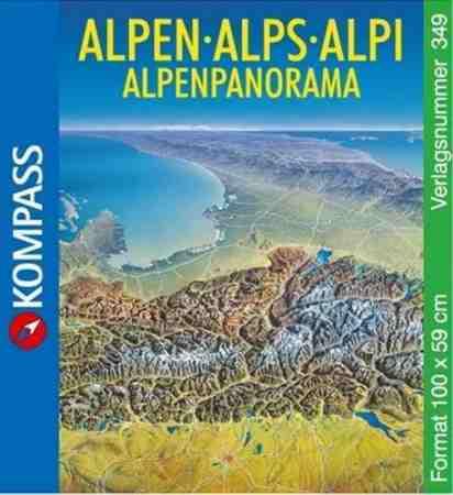 Alpok panoráma falitérkép - Kompass AK349
