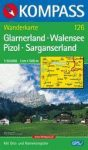 Glarnerland, Walensee, Pizol, Sarganserland turistatérkép (WK 126) - Kompass