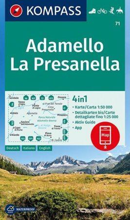 Adamello, La Presanella turistatérkép (WK 71) - Kompass