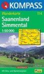 Saanenland, Simmental turistatérkép (WK 114)- Kompass
