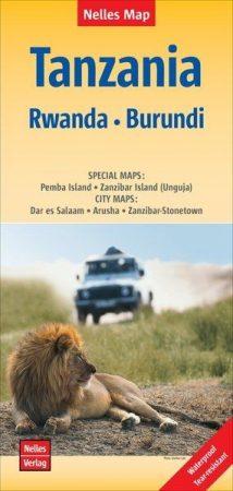 Tanzánia, Ruanda, Burundi térkép - Nelles