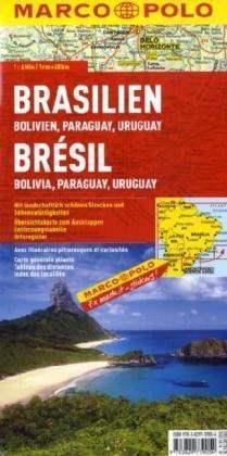 Brazília, Bolívia, Paraguay, Uruguay térkép - Marco Polo