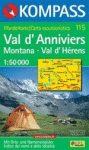 Val d'Anniviers, Montana, Val d'Hérens turistatérkép (WK 115) - Kompass