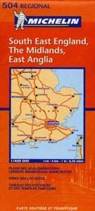 Délkelet-Anglia, Midlands, Kelet-Anglia - Michelin 504