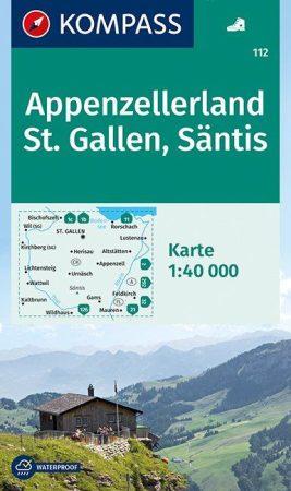 Appenzellerland, St. Gallen, Säntis turistatérkép (WK 112) - Kompass