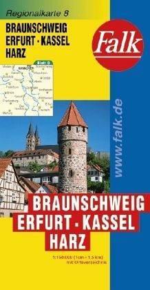 Braunschweig, Erfurt, Kassel, Harz autótérkép - Falk