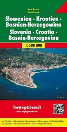 Croatia, Slovenia & Bosnia-Hercegovina, road map - Freytag-Berndt