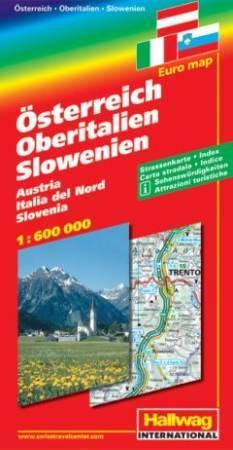 Ausztria, Észak-Olaszország, Szlovénia autótérkép - Hallwag