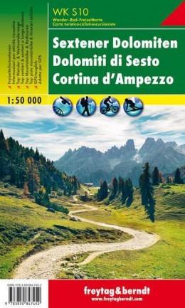 Sextener Dolomiten, Cortina d'Ampezzo turistatérkép (WKS 10) - Freytag-Berndt