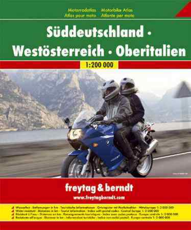 Dél-Németország, Nyugat-Ausztria, Észak-Olaszország motoros atlasz - Freytag-Berndt