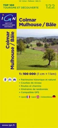 Colmar, Mulhouse, Basel kerékpáros térkép (122) - IGN Top 100