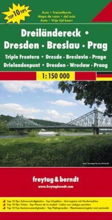 Drezda, Wrocław, Prága és környékük autótérképe - Freytag-Berndt Top 10 Tips